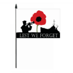 Lest We Forget Navy Hand Flag - Medium